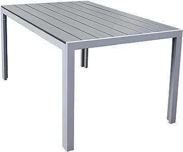 Trueshopping Mesa de Comedor para Exterior Malmö Polywood con Estructura de Aluminio en Gris 150 x 92 x 73 cms: Amazon.es: Hogar