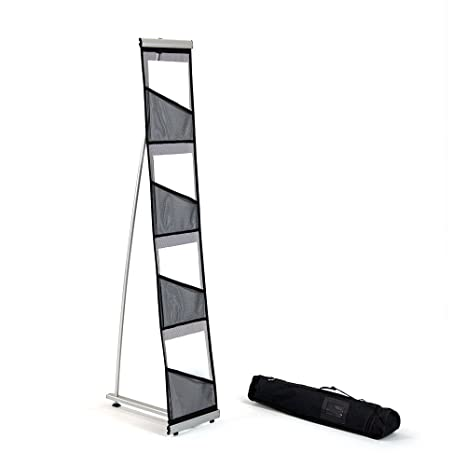 Mesh Magazine Stand Roll Out Brochure Holder 40 Pockets Portable Inspiration Portable Literature Display Stands