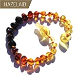 Hazelaid (TM) 5.5'' Pop-Clasp Baltic Amber Rainbow Round Bracelet