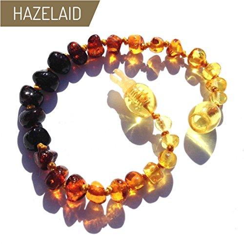 Hazelaid (TM) 5.5'' Pop-Clasp Baltic Amber Rainbow Round Bracelet by Hazelaid