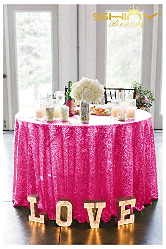 (ShiDianYi Sequins Table Cloth 90 Inch Fuchsia Round Tablecloth Hot Pink Cake Stand (Fuschia))