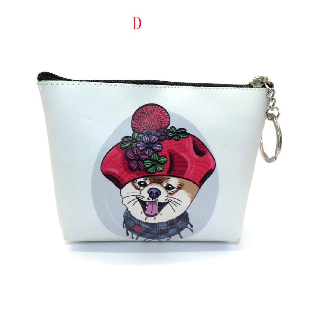 kingfansion Women's Wallet Small Wallet Cute Printed Dog Snack Coin Wallet Phone Bag Key