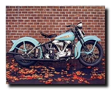 Superb 1938 Aqua Harley Davidson Vintage Motorcycle Wall Decor Art Print Poster  (16x20)