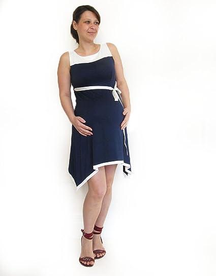Maternidad Verano Vestido de Azul Marino, Algodón, longitud de Midi para vestidos de maternidad
