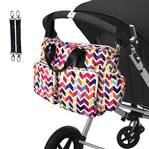 LCY Bolsa Grande Messenger Colorful Bolsa con cambiador de bebé Cochecito Ganchos