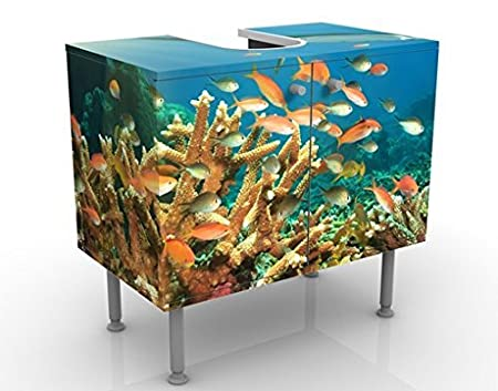 Apalis Waschbeckenunterschrank Korallenriff 60x55x35cm Design Waschtisch, Größe:55cm x 60cm