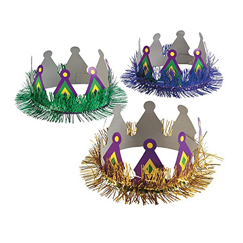 Fun Express - Fun Mardi Gras Crowns for Mardi Gras - Apparel Accessories - Hats - Tiaras & Crowns - Mardi Gras - 12 -