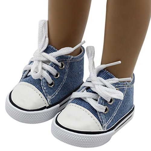 PrettyW Doll Clothes for 18 Inch Dolls - Canvas Lace Up Sneakers Shoes for 18 inch American Girl Dolls (Dark Blue)