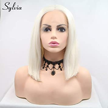 Amazon Com Sylvia Platinum Blonde Bob Hairstyle Synthetic Lace