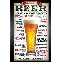 1art1 48819 Poster Bière Comment Commander Une Bière Dans Le Monde Entier 91 x 61 cm