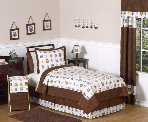 Sweet Jojo Designs Queen Kids Childrens Bed Skirt for Night Owl Bedding Sets