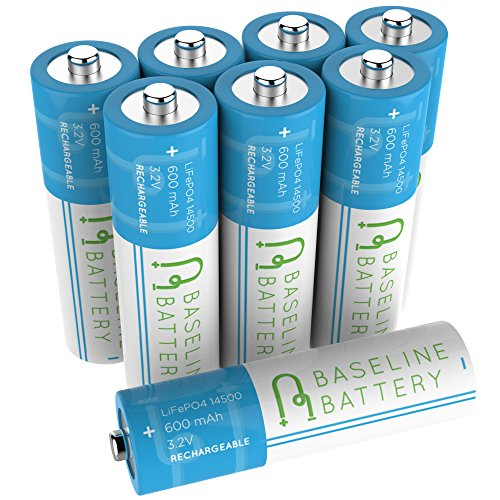 00mAh 14500 3.2v LiFePO4 Lithium Phosphate AA Size Rechargeable Batteries Solar Garden Light ()