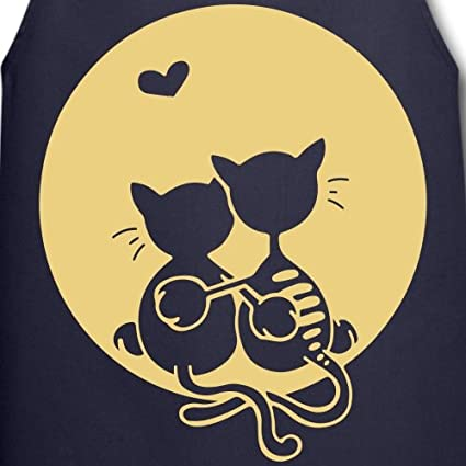 Spreadshirt Couple De Chats Amoureux Pleine Lune Tablier
