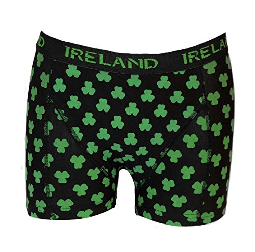 Carrolls Irish Gifts Ireland Boxer Shorts With Multi-Shamrock Print, Black Colour