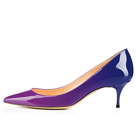 982bb09bf9cf1 MODEMOVEN Women's Purple Blue Patent Leather Pointed Toe Kitten Heels  Gorgeous Pumps Evening Stiletto Shoes 5.5CM - 7 M US