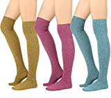 STYLEGAGA Winter Cozy Cable Knit Over The Knee High Boot Socks (One Size: XS to M, Cozy Cable_Color 3Pair)
