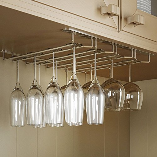 Under Cabinet Wine Glass Rack, gloednApple Stainless Steel Wine Rack Glass Holder Hanging Hanger Chrome Stemware Holder for Bar Kitchen (35cm: 4 Rows) by gloednApple