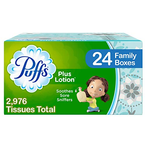 Puffs Plus Lotion Facial Tissues, 24 Family Boxes, 124 Tissues Per Box (2976 Tissues Total)