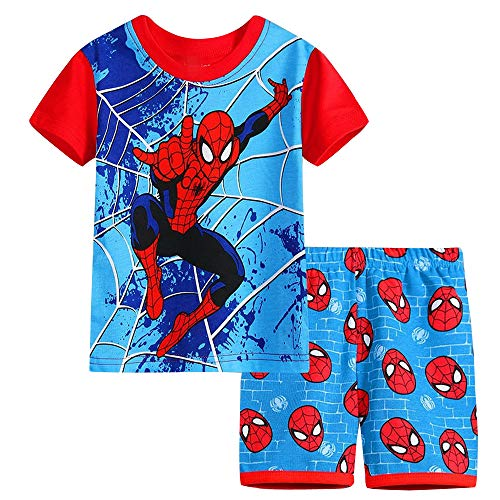 Fribro boy Short Pajamas Superhero Sleepwear Sports Cartoon Cotton Summer PJS Spider-Manchildren's Clothing (Spider-Man C, 5T) ()