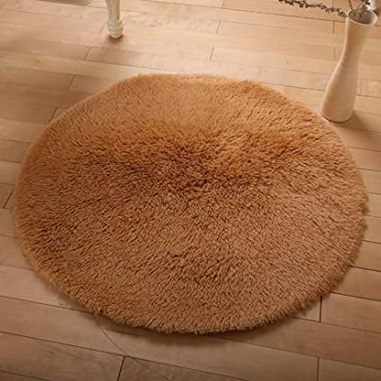 Wolala Home Beautiful Super Soft Coral Fleece Round Area Rugs Durable Solid Floor Rug Washable Non-Slip Bedroom Living Room Carpet Coffee Table Bedside Computer Chair Yoga Mats (2'6x2'6, Blue) ZYL00013