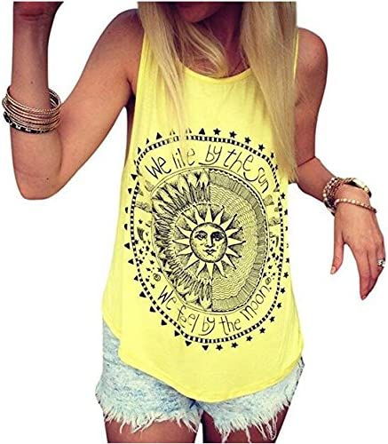 5Five - Camiseta sin Mangas con Cuello Redondo, Estampado de Sol, para Mujer, algodón, Amarillo, XX-Large: Amazon.es: Hogar
