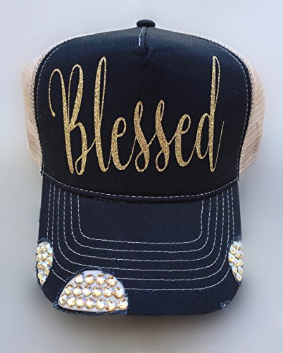 Swarovski Cap Cotton (Black Cap Women's Trucker Hat Khaki Mesh Back With Gold Scrip Blessed Gold Swarovski Crystals by It's Crystalicious)