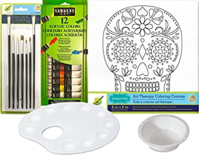 Art Canvas Sugar Skull Design Paint set with 12 Color Acrylic Paints / Brush Set & Palette Water Cup Color your own picture art Therapy kit