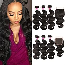 QinMei Hair Brazilian Virgin Hair Body Wave 3 Bundles with Closure 8A 100% Unprocessed Brazilian Body Wave Human Hair Weft With Lace Closure Free Part Natural Black Color (10 12 14 + 8)