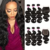 QinMei Hair Brazilian Virgin Hair Body Wave 3 Bundles with Closure 8A 100% Unprocessed Brazilian Body Wave Human Hair Weft With Lace Closure Free Part Natural Black Color (12 14 16+10)