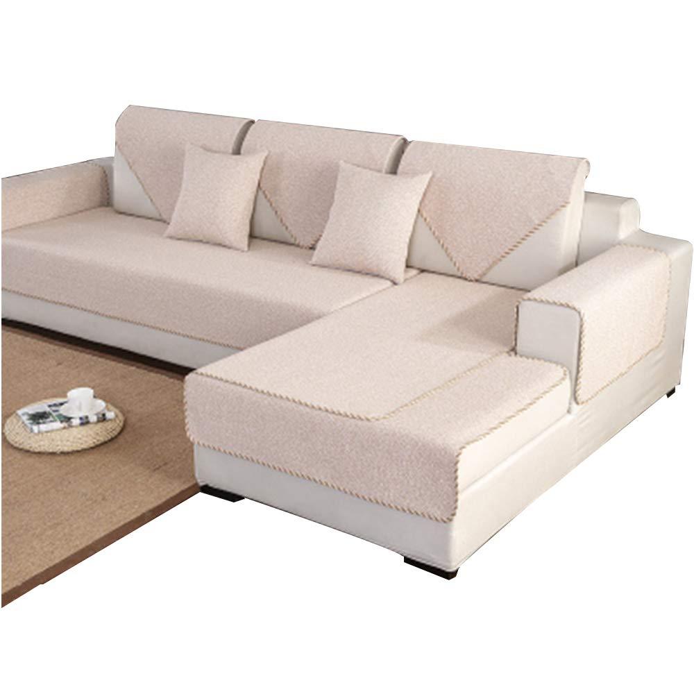 C 9090cm C 9090cm L&WB 100% Cotton Anti-Slip Sofa Slipcovers, 1-Piece Sofa Towel Cover Dirt-Proof Furniture Predector For Pet Dog Kids Sofa Slipcover,C,90  90Cm