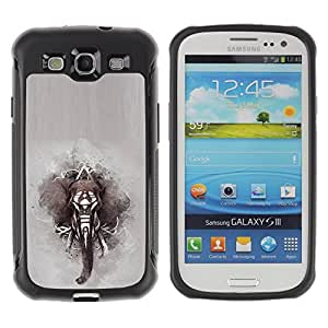 Lady Case@ Elephant African Indian Painting Grey Rugged Hybrid Armor Slim Protection Case Cover Shell For S3 Case ,I9300 Case Cover ,I9308 case ,Leather for S3 ,S3 Leather Cover Case