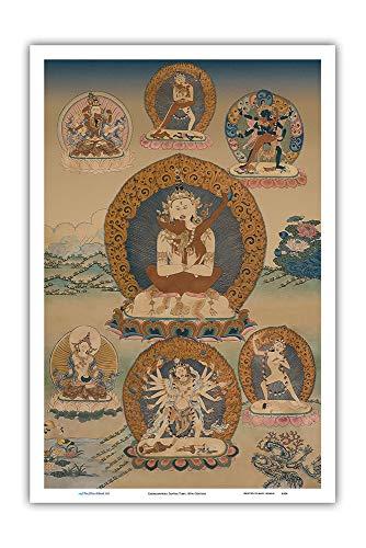 Pacifica Island Art - Cakrasamvara Tantra - Vintage Thangka Buddhist Painting - Tibet, 18th Century - Master Art Print - 12in x 18in
