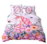BeddingHome Fashion Cartoon Unicorn 3 PCS Cotton Comforter Cover Set(1 Duvet Cover,2 Pillowcases) Fashion Bedding Set for Teens and Kids-Full