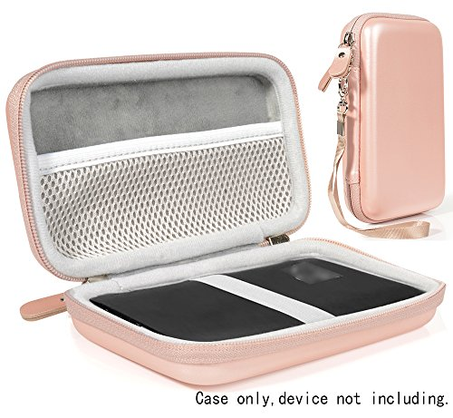 Rose Gold Protective Carrying Case for DULLA M50000 Portable Power Bank 12000mAh External Battery Charger by WGear, Detachable Wrist Straps, Elastics Strap to Secure Device, Mesh Cable Pocket Inside