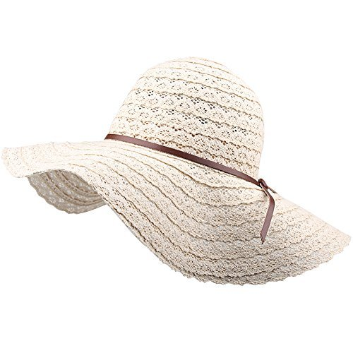 Summer Beach Sun Hats For Women - FURTALK UPF Woman Foldable Floppy Travel Packable UV Hat Cotton, Wide Brim Fedora Dress Cap Cover, Normal Size And Extra Large Size are offered (Sizes Womens Hat)