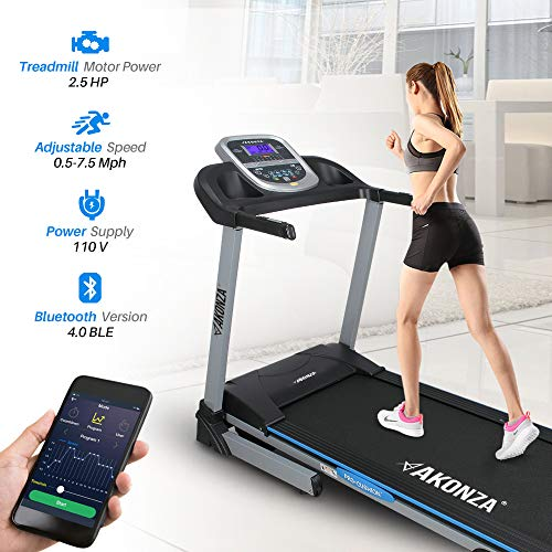 AKONZA 2.5 Peak HP Foldable Exercise Treadmill Machine Running 16.5 Wide Belt LCD Display 3 Manual Incline App Control