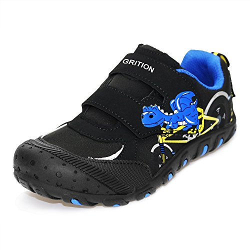 Pictures of GRITION Mid Kids School Shoes, Dinosaur Riding Bike Cartoon Sneakers for Boys Girls Easy Hook and Loop Walking Running Water Resistant Shoes Black Gray Unisex Child (3 M Little Kid/EU 35, Black) 1