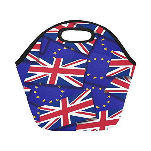 Insulated Neoprene Lunch Bag Flags Of The European Union And The United Kingdom Large Size Reusable Thermal Thick Lunch Tote Bags For Lunch Boxes For Outdoors,work, Office, School