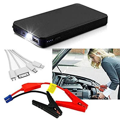 RDT 12000mAh 400A Peak Mini Size Car Jump Starter Portable Power Bank External Battery Charger Ultra-thin Emergency Auto Jump Starter Laptop Smart Phone USB Device with LED Flashlight(Black)