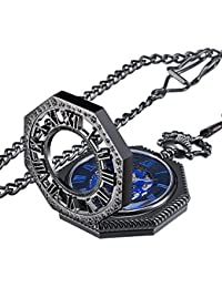 Vintage Mechanical Hand-wind Skeleton Pocket Watch with Chain Xmas Gift (Black)