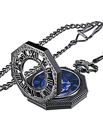 Mudder Vintage Mechanical Hand-wind Skeleton Pocket Watch with Chain Xmas Gift (Black) (Vintage Style Pocket Watch)