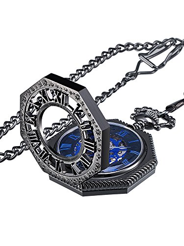 Mudder Vintage Mechanical Hand-wind Skeleton Pocket Watch with Chain Xmas Gift (Christmas Pocket)