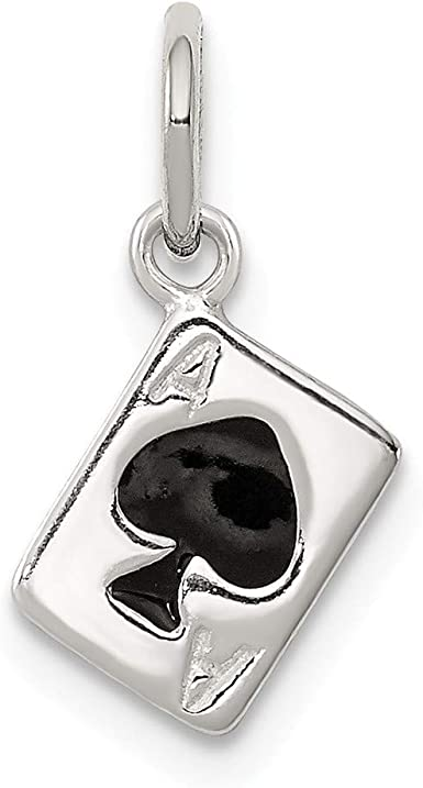 6mm x 15mm Solid 925 Sterling Silver Enameled Ace of Spades Card Pendant Charm