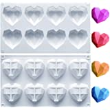 Amurgo 1 Pack Diamond Heart Silicone Mold for Valentine's Day, 8 Cavities Non-stick Easy Release Heart Shaped Silicone Mold T