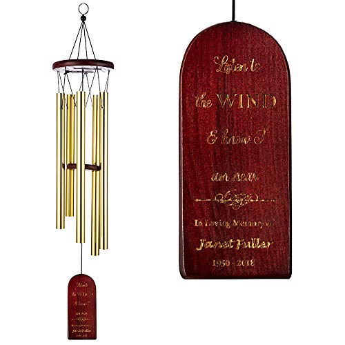 Pongs Personalized Memorial Wind Chimes, Send Sympathy Gift, Bereavement Gift, Memorial Gift, Windchime for Home and Garden Decor -