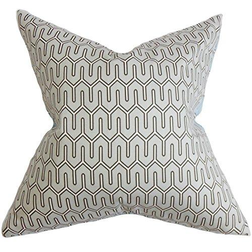 (The Pillow Collection Aleeza Geometric Bedding Sham Gray European/26 x 26