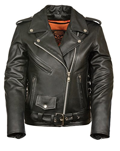 Milwaukee Women's Full Length Motorcycle Jacket with Side Lace (Black, - Austin Domain Stores The