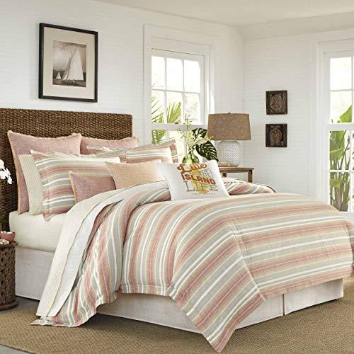 Tommy Bahama Sunrise Stripe Comforter Set, King, Coral