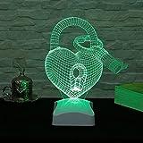Table Lamp, Heart Lock Key Green 3D Led Neon Accessory Night Minimalist Solid Metal Table Lamp Bedside Desk Lamp for Bedroom, Dresser, Living Room, Kids Room, College Dorm