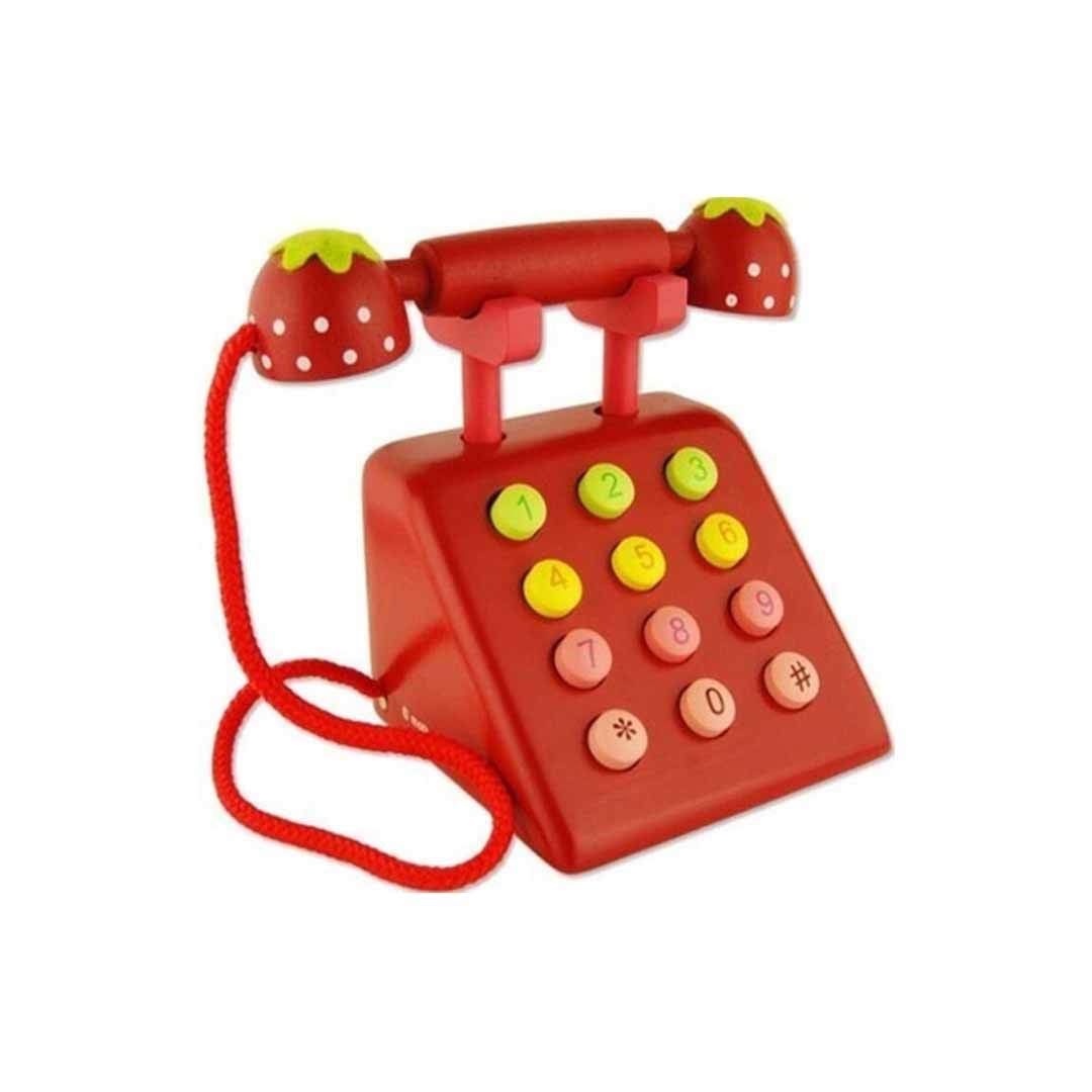LBYMYB Wooden Simulation Phone Male and Female Baby Play House Puzzle Early Education Digital Cognitive Toys 1-3-6 Years Old 11.8x15x18cm Smart Toy (Color : Red)